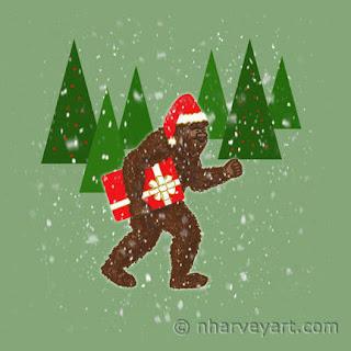 Christmas with Bigfoot sasquatch art