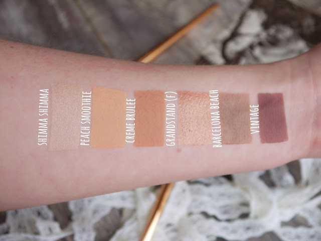 makeup geek cream and brown eyeshadow swatches