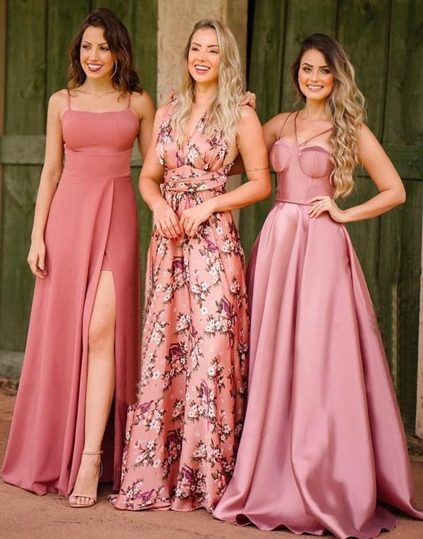 vestidos rosa queimado blush para madrinhas de casamento paleta