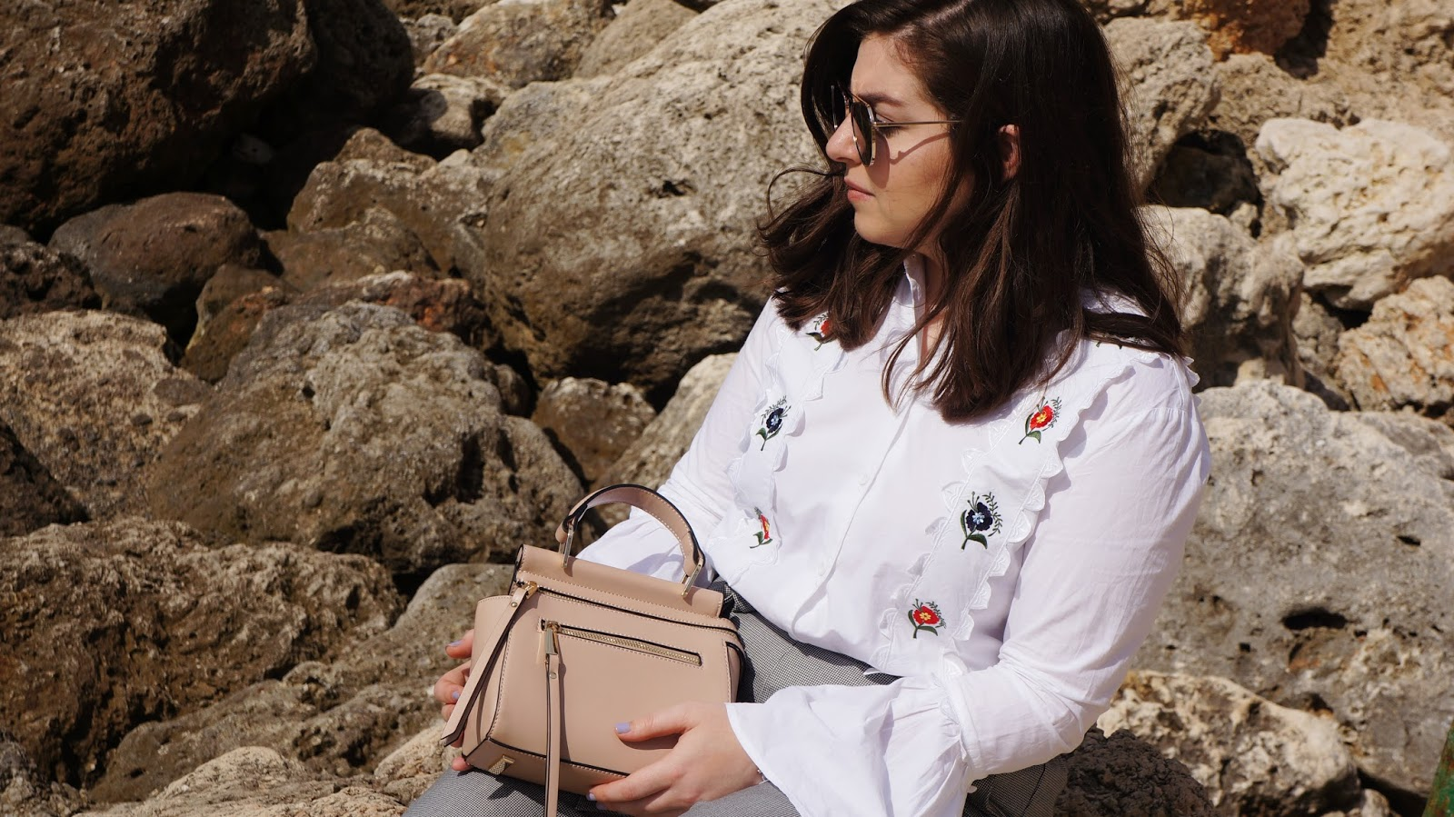 Topshop Embroidered Shirt and Dune Bag in the Maltese Rocks