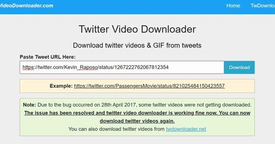تنزيل فيديوهات تويتر على الكمبيوتر
