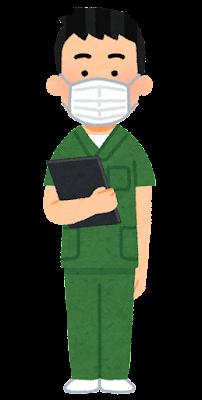 緑のスクラブを着た医療従事者のイラスト(男性)