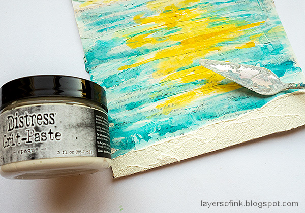 Layers of ink - Sunny Ocean and Beach Mixed Media Scene Tutorial by Anna-Karin Evaldsson. Apply grit-paste.