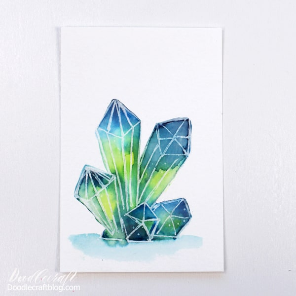 How to paint watercolor galaxy crystals for beginners