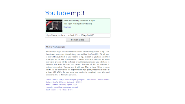 Convert Video Youtube kalian ke MP3 di Situs www.youtube-mp3.org