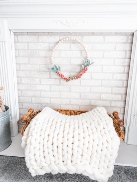 cream chunky knit blanket throw basket white brick