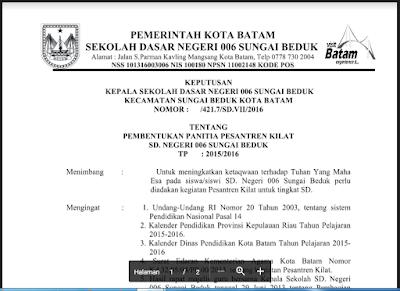 Download Contoh SK Pesantren Kilat Ramadhan tahun 1438H/2017 M - Opssekolah Dasar