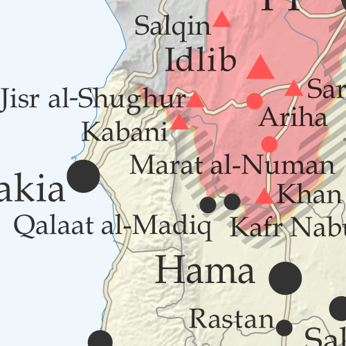 Map of Syrian Civil War (Syria control map): Territorial control in Syria in July 2019 (Free Syrian Army rebels, Kurdish YPG, Syrian Democratic Forces (SDF), Hayat Tahrir al-Sham (HTS / Al-Nusra Front), Islamic State (ISIS/ISIL), and others). Includes US deconfliction zone and Turkey-Russia demilitarized buffer zone, plus recent locations of conflict and territorial control changes, such Kafr Nabudah, Kabani, Al-Kawm, and more. Colorblind accessible.