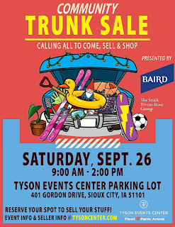 a flyer announces the Trunk Sale at the Tyson Events Center in Sioux City on Saturday 9/26