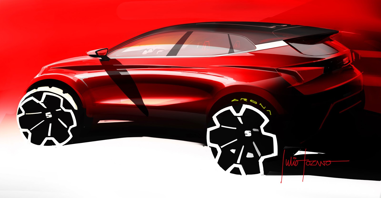 Seat Arona sketch by Julio Lozano showing the rear