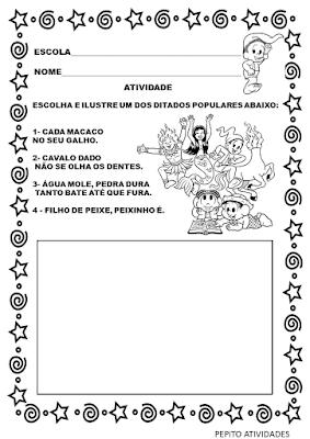 Atividade ditado popular folclore para educação infantil de acordo com a BNCC