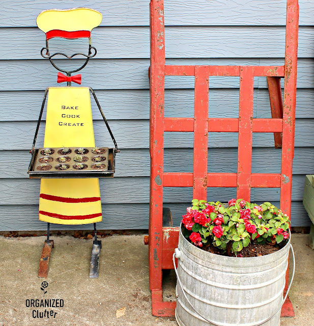 Garage Sale Outdoor Baker/Chef Plant Holder & Sempervivum #henandchicks #oldsignstencils #garagesalefind #containergardening