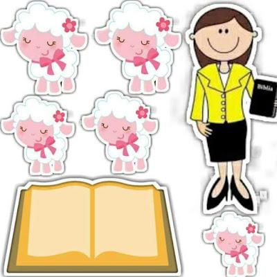 Ovejitas: Etiquetas, Stickers o Toppers para Primera Comunión de Nena, para Imprimir Gratis.