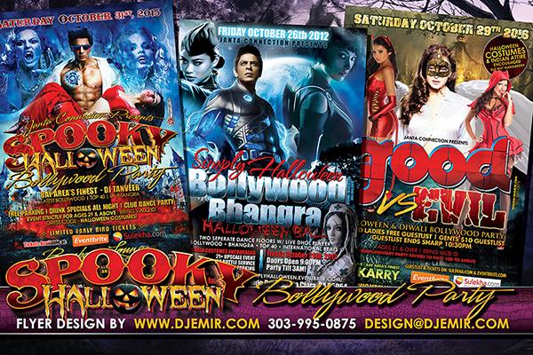 Spooky But Sexy Bollywood Halloween Flyer Designs