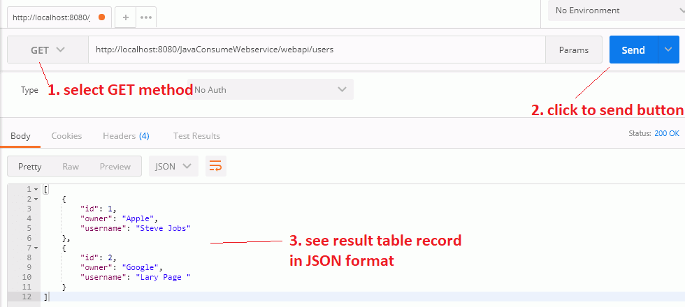retrieves all client record from database in postman tool and displays in JSON format