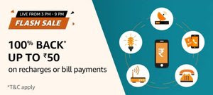 Amazon Pay Offer- Get 100% Cashback Upto Rs.50 On Mobile Recharge