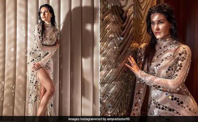 Amyra Dastur Looks Radiant In A Glamorous High-Slit Dress