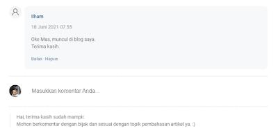 Tampilan Pesan Catatan di Komentar Blog