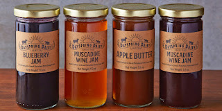 An image of blueberry Jam,Muscade Wine Jam,Apple butter and Muscade Wine Jam