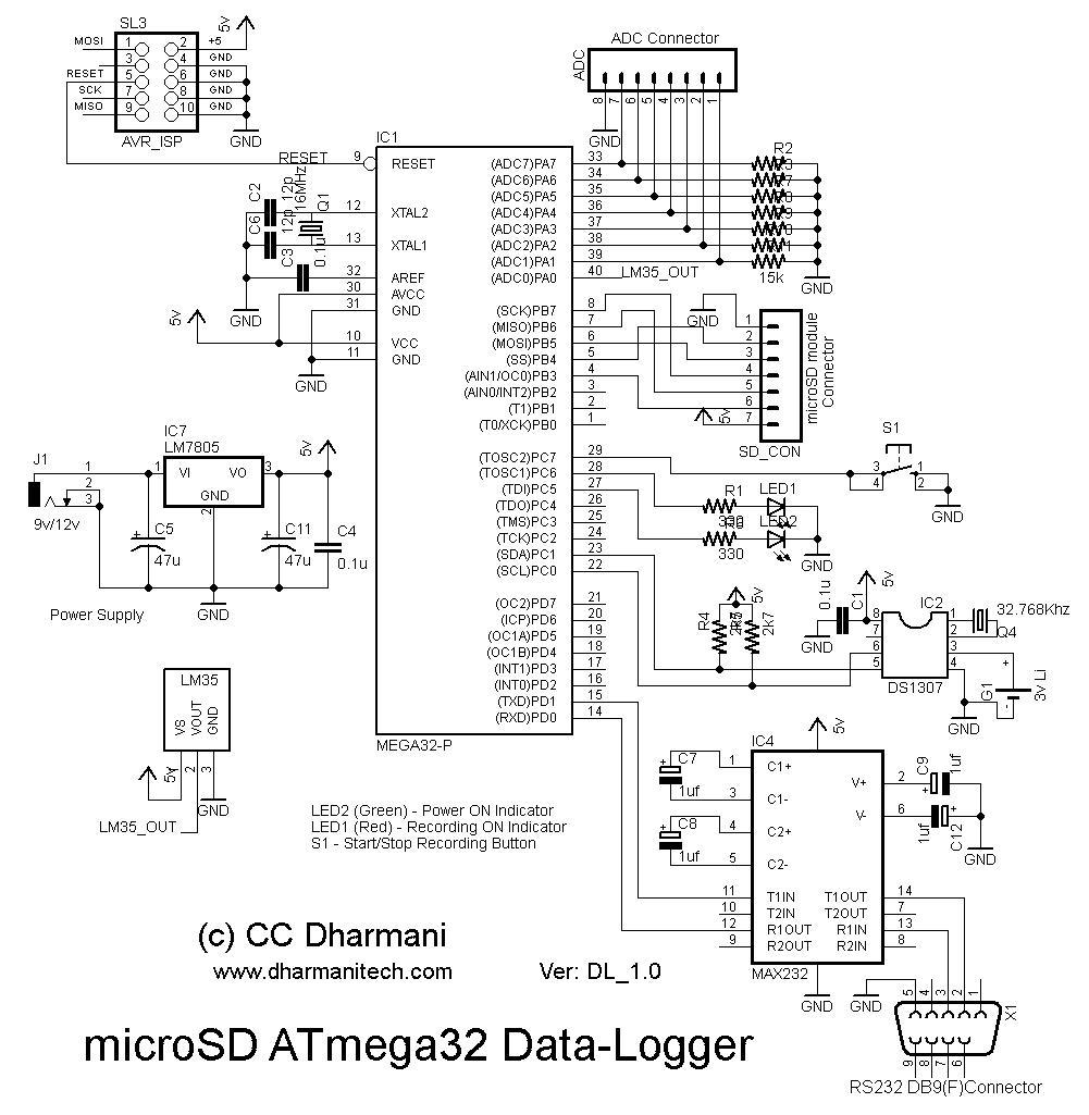 Design with Microcontrollers: microSD ATmega32 Data-Logger