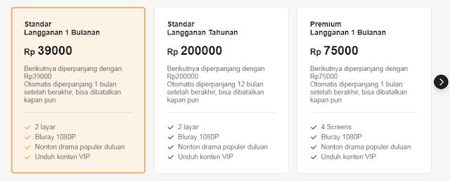 Harga langganan VIP standar