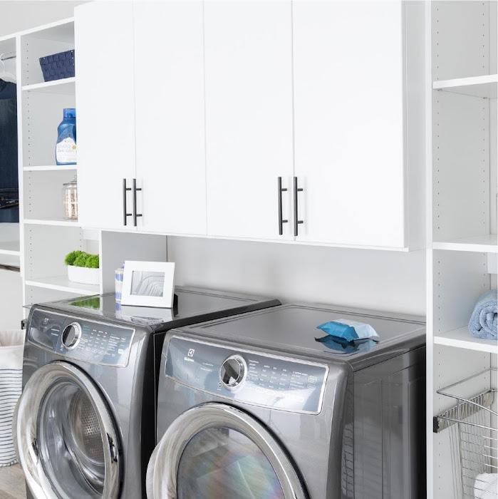 organized laundry room shelves