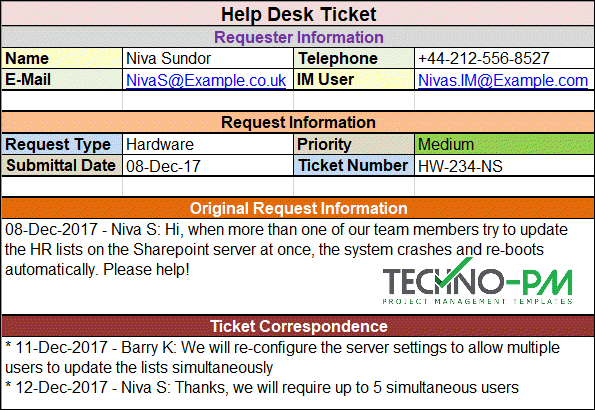 Help Desk Ticket, Help Desk Ticket Template