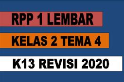 RPP 1 LEMBAR KELAS 2 TEMA 4 KURIKULUM 2013 REVISI 2020