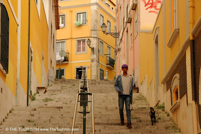 A young man and his black dog on a leash walk down a staircase between two rows of colourful houses.
