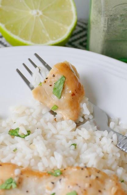 chicken breast piece on fork