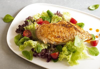 Grilled Chicken Breast and a Lettuce Salad