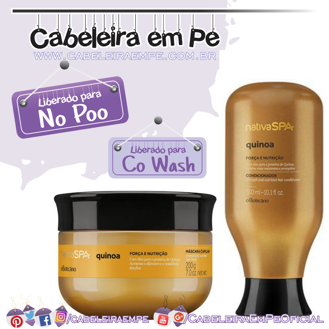 Condicionador e Máscara Capilar Nativa Spa Quinoa - O Boticário (No Poo e Co Wash)