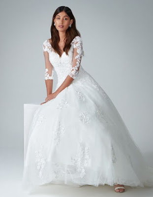 kitty- a floral lace a-line ivory color wedding dress