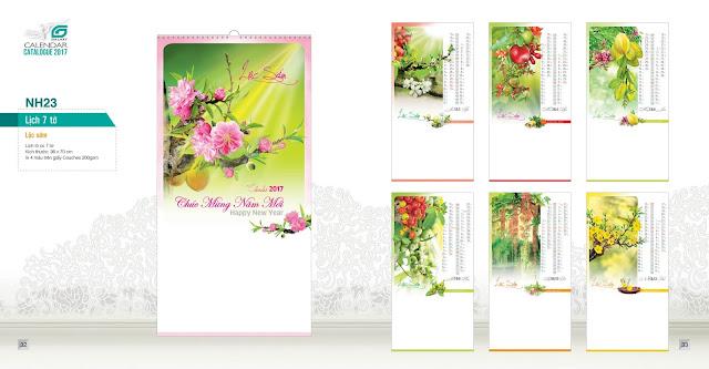 NH23 - Lộc hoa, Lịch treo tường 7 tờ, in lịch, mẫu lịch hoa