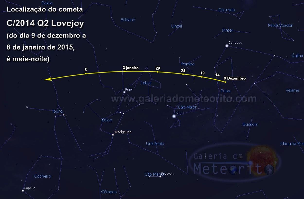 Cometa Lovejoy visível no céu