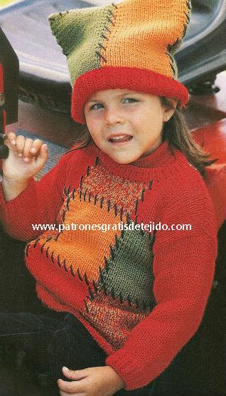 Conjunto gorro y sueter estilo patchwork para niña tejido en dos agujas tutorial