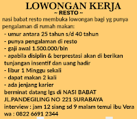 Walk In Interview di Nasi Babat Resto Surabaya Januari 2021