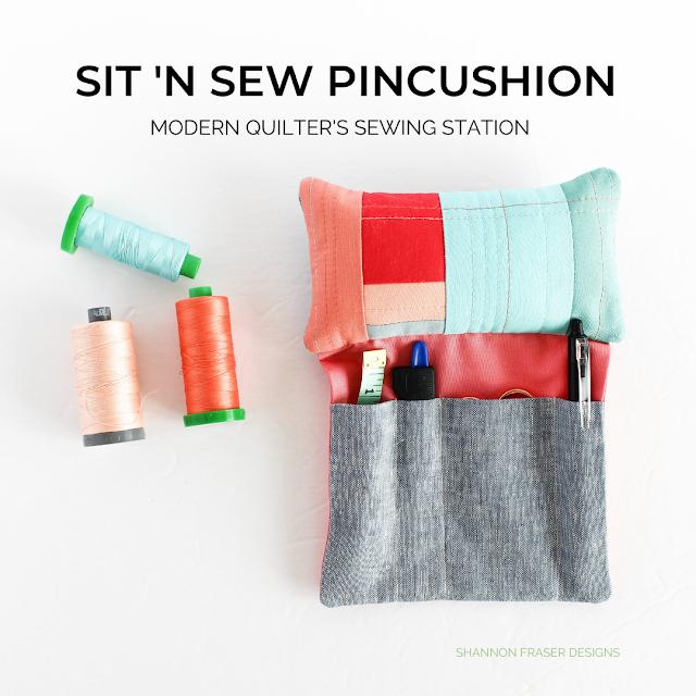 Sit 'N Sew Pincushion Pattern | Shannon Fraser Designs #pincushion #digitalpattern #sewingnotions