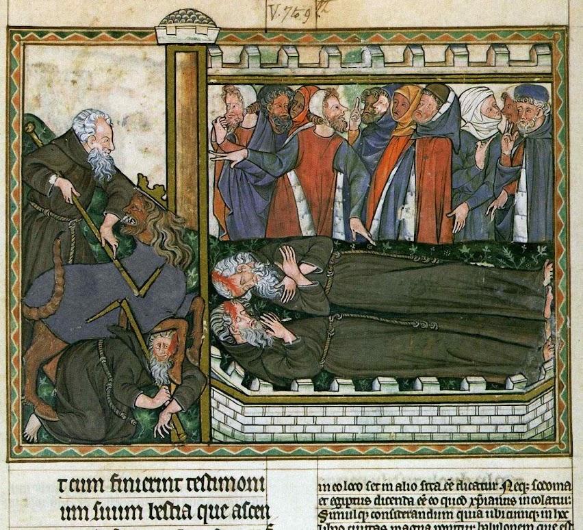 A morte do Moisés da Lei da Graça prefigurará o assassinato de Elias e Henoc pelo Anticristo, Oxford, Ms. Douce 180, pág 36