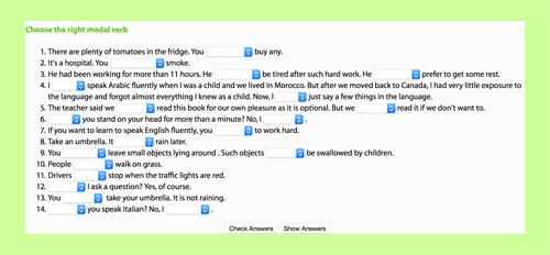 Modal verbs online exercise