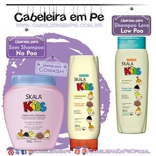 Shampoo (Low Poo) e Condicionador (No Poo) e Creme de Tratamento (No Poo) Kids - Skala