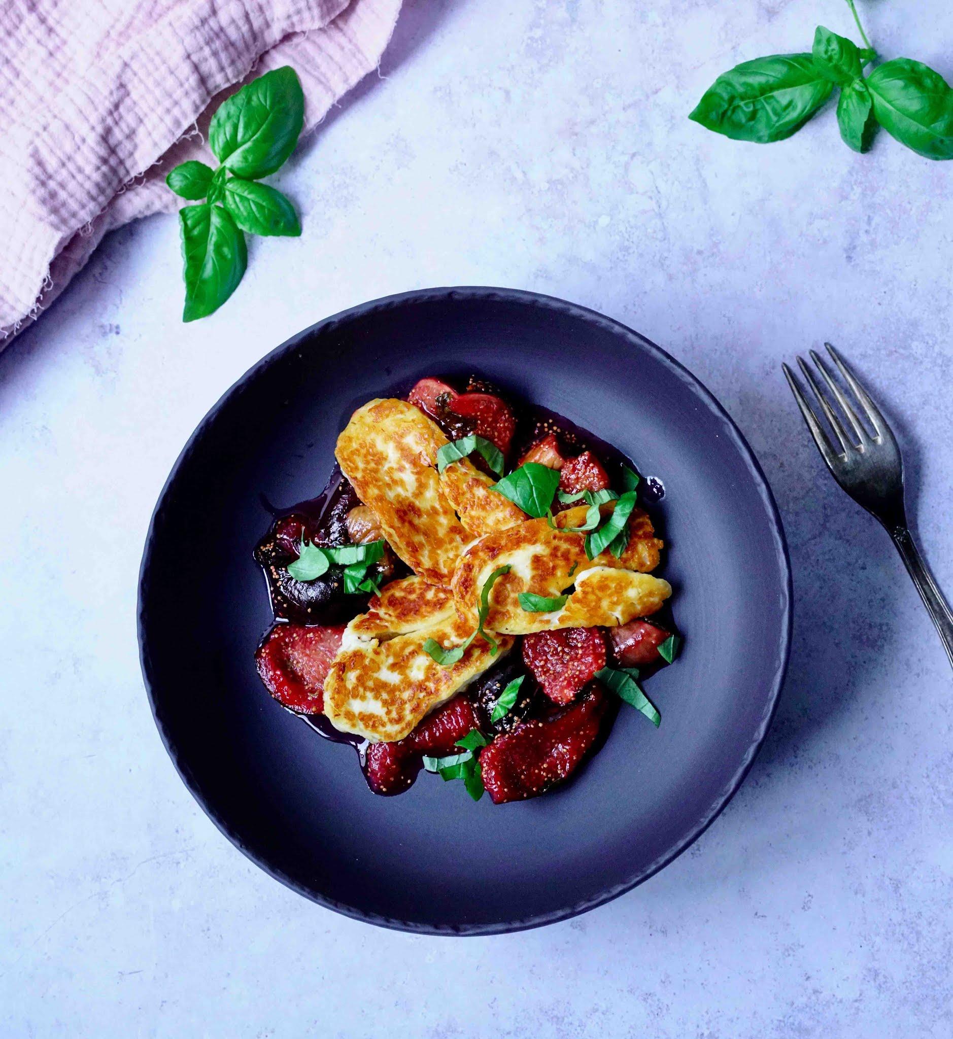 figues frâiches , entrée de saison , cuisine facile , recette gourmande , halloumi