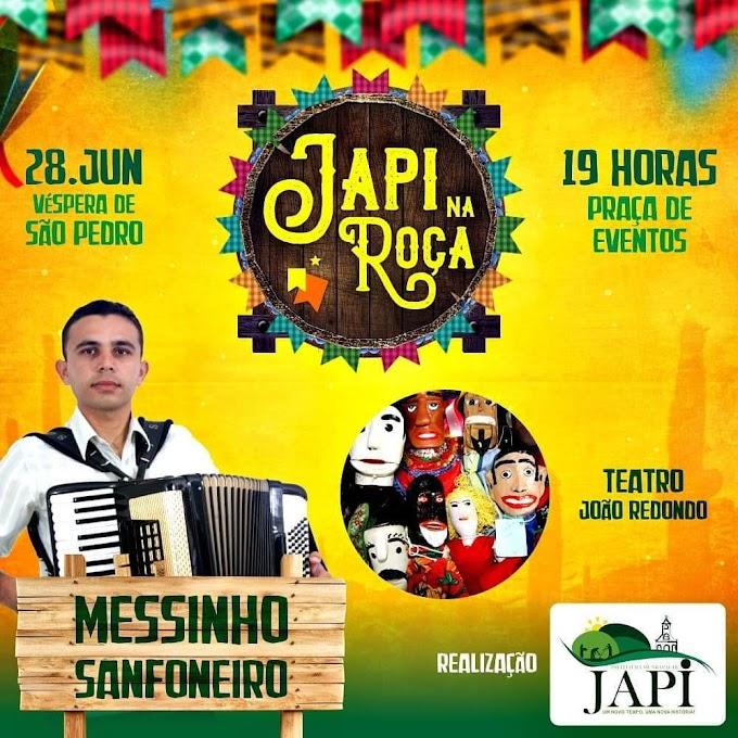"""Prefeitura de Japi realizará o """"Japi na Roça"""", nesta véspera de São Pedro."""