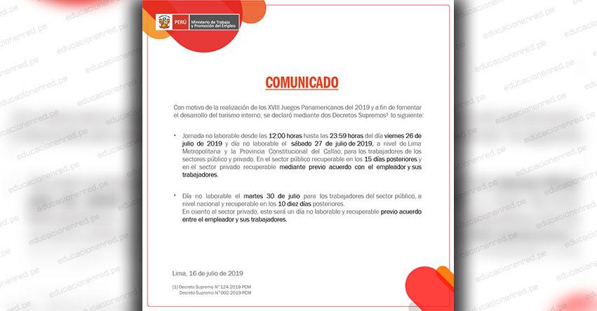 COMUNICADO: Precisiones sobre días no laborables desde el mediodía del 26 hasta el 30 de julio 2019 - www.trabajo.gob.pe