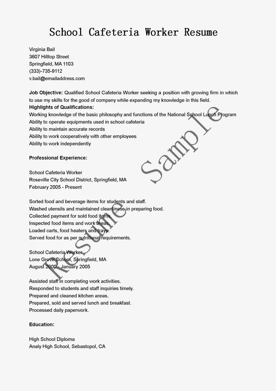 Resume Samples With High School Diploma – High School Diploma on Resume Examples