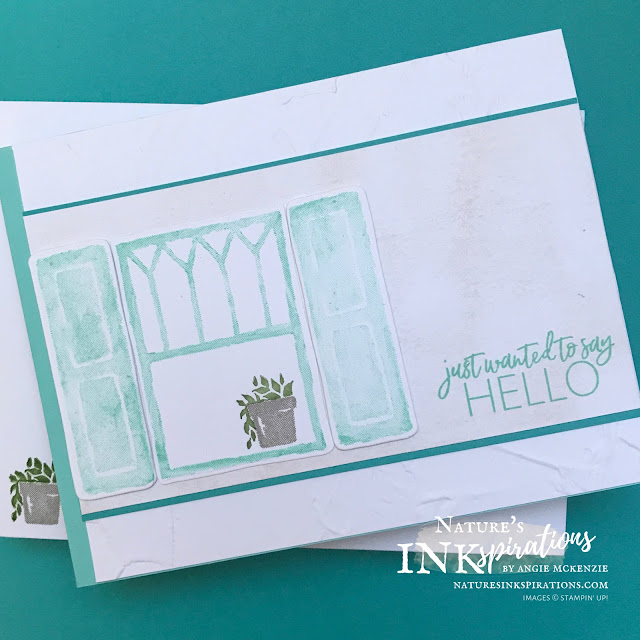 By Angie McKenzie for Stamping INKspirations Blog Hop; Click READ or VISIT to go to my blog for details! Featuring the Welcoming Window Bundle, Today's Tiles Stamp Set, Painted Texture Embossing Folder by Stampin' Up!® to create colorful cards; #stampinup #cardtechniques #cardmaking #welcomingwindowbundle #todaystilesstampset #paintedtextureembossingfolder #naturesinkspirations #stampinupinks #stampingtechniques #stampinginkspirationsbloghop
