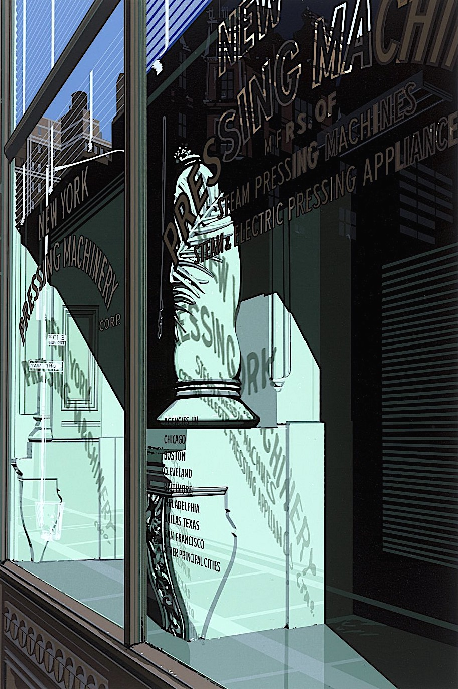 Richard Estes, a teal store window in sun and shade