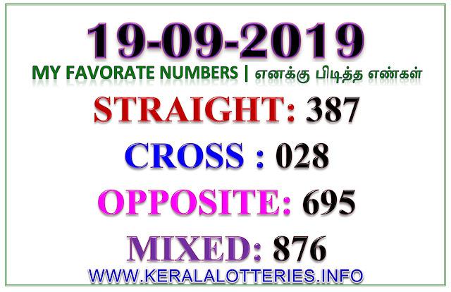 Kerala Lottery Guessing Result Best Favorite Numbers Karunya Plus KN-282 dated 19.09.2019