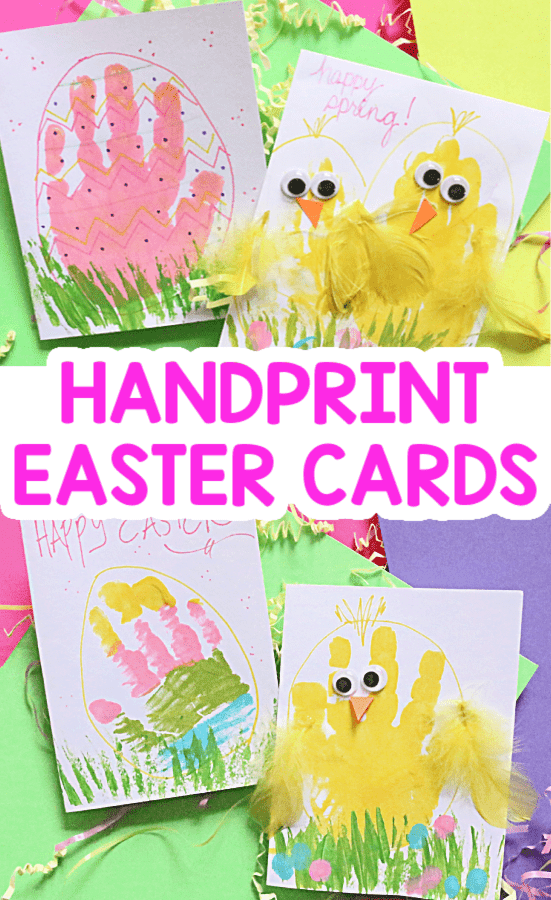 SPRING CHICK AND EASTER EGG HANDPRINT EASTER CARDS