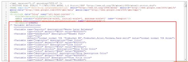 Membuat Custom Varible Definitions agar Template Blog Mudah Disesuaikan